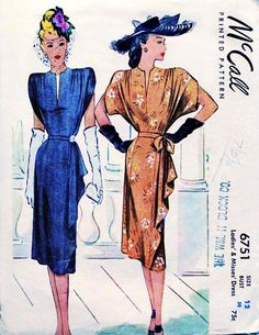 1940s Dress Pattern Vintage McCall 6751 Side by FloradoraPresents
