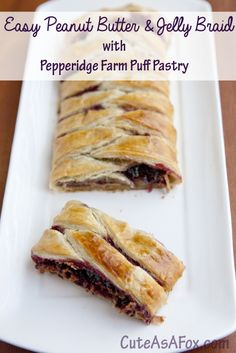 Peanut Butter and Jelly Braid with #puffpastry. #ad