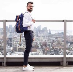 Rocking a backpack. Do you prefer a backpack, messenger, briefcase, holdall, or tote? Comment or repin.