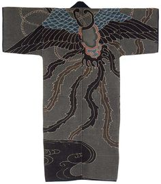 Japan, Early 20th century.Cotton quilted with sashiko, paste-resist dyeing and painting.