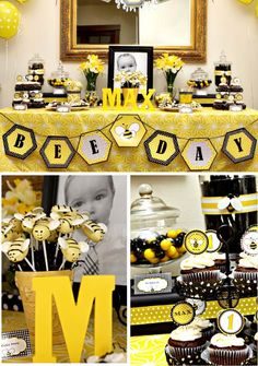 A yellow and black bumble bee birthday party! First Birthday Party Themes, Birthday Fun, Birthday Ideas, Bumble Bee Birthday, Bee Theme, First Birthdays, Party Ideas, Party Party, Theme Ideas