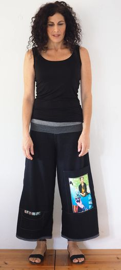Palazzo pants, Black women's Pants, Loose and relaxed light cotton pants, wide leg pants, Frida Kahlo clothing, Boho pants, Cotton trousers by TaliaDesignerClothes on Etsy