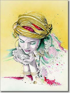 Portraits de femmes - La féconde by Farid Benyaa Art Et Illustration, Illustrations, Inspiration Art, Art Inspo, Art Arabe, Arabic Art, Portraits, North Africa, Art Plastique