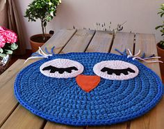 Baby T-shirt yarn carpet, Búho model: Rug - Baby rug - Round carpet - Trapillo rug - Crochet rug - Owl rug - TShirt yarn rug - kids rugs