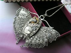 Necklace Steampunk  butterfly by steampunkerstudio on Etsy