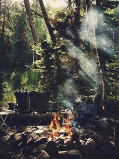 Nice  breakfast, camp fire, forest, camping, eating outdoors, adventure, smoke, chairs...