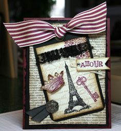 Krystal's Cards and More: Challenge Monday 3.7.11 STAMPS:  Artistic Etchings, En Francais BG PAPER:  Rich Razzleberry, Basic Black, Very Vanilla, First Edition DSP ACCESSORIES:  Two Tag die, Razzleberry  Striped Grosgrain, Jumbo Eyelet, Raven Lace Trim (retired), Crocheted Trim, Black Taffetta Ribbon, Vintage Brad, Basic Pearls