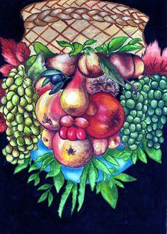 Arcimboldo- Fruit by ~Papilonn on deviantART Paintings Famous, Famous Artists, Giuseppe Arcimboldo, Amazing Food Art, Fruit Painting, School Art Projects, Arts Ed, Green Man, Natural Forms