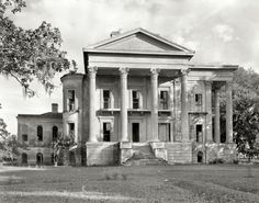 """1938. Iberville Parish, Louisiana. """"Belle Grove. Vicinity of White Castle. Greek Revival mansion of 75 rooms. Built 1857 by John Andrews, who sold it to Stone Ware. Occupied by Ware family until circa 1913."""" What was left of Belle Grove, reputedly the largest plantation house in the South, burned to the ground in 1952. 8x10 inch acetate negative by Frances Benjamin Johnston."""