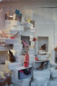 organized chaos, resembling every girls shoe cupboard!, pinned by Ton van der Veer