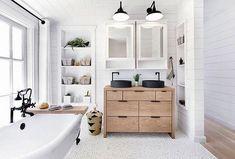 Modern farmhouse bathroom - Interior Design, Photo, and Home of Photographers Trinette + Chris = pebble tile on floor Bathroom Layout, Bathroom Interior, Home Interior, Interior Design, Rv Bathroom, Bathroom Ideas, Shiplap Bathroom, Small Bathroom, Bathroom Designs