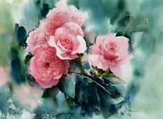 "Photo from album ""Adisorn Pornsirikarn. Акварель"" on Yandex. Watercolor Projects, Watercolor Techniques, Watercolor And Ink, Watercolour Painting, Watercolor Flowers, Watercolors, Art Floral, Beautiful Paintings, Flower Art"
