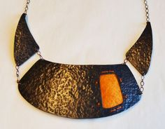 copper collar with yellow felt  Taylor Allen Jewelry :: Blog