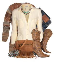 A Little Bit Country by jackie22 on Polyvore featuring James Perse, Poppie Jones, AG Adriano Goldschmied, country, long cardigans, striped cardigans, turquoise jewelry, fringe bags, cowboy boots and jeans