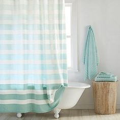 DKNY Highline Stripe 72 Inch X 84 Cotton Extra Long Shower Curtain