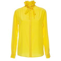 MSGM Ruffle Collar Silk Blouse ($585) ❤ liked on Polyvore featuring tops, blouses, yellow blouse, silk blouses, yellow long sleeve top, yellow top and msgm