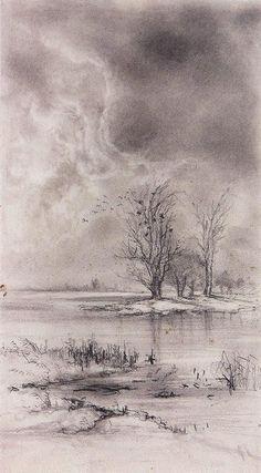 Spring landscape, 1890 by Aleksey Savrasov. Landscape Drawings, Landscape Paintings, Spring Scenery, Spring Landscape, Impressionist Landscape, Graphite Drawings, Painting Videos, Pastel Art, Watercolor Paintings