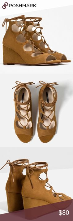 NWT Zara Lace Up Camel Colored Leather Wedges NWT Zara Lace Up Camel Colored Wedges. Upper Material is Genuine Leather. Very cute with Jeans or Dresses :) Brand New! Zara Shoes