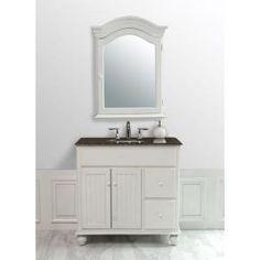 stufurhome 36 in. Single Sink Vanity with Baltic Brown Granite Vanity Top and Mirror in White-GM-6114-36-BB - The Home Depot