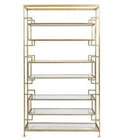 "Bianca Etagere - iron frame with gold leaf finish.  Glass shelving   40""wide x 12"" deep x 72"" high  $2325"