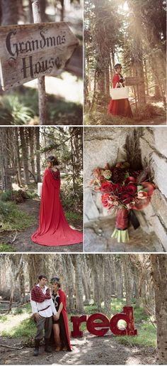 Engagement photo session with a Little Red Riding Hood theme. Cool! via Love and Lavender