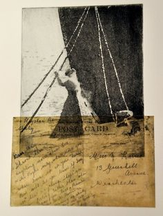 Titanic exhibition etching showing woman