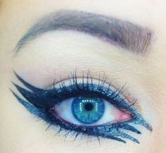 """Want to see Megan's fiercely striped liner look win the #RentTheRunway #BeautyChallenge? Vote """"I would"""" now: http://www.preen.me/look/45789007-parker-amphibian-by-megan-c #Beauty #Fashion #Style #Eyes #Eyeliner #Makeup"""