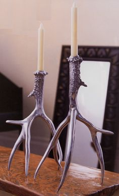 Burnished Aluminum Antler Candlestick Set