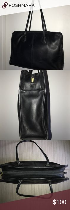 COACH ALL LEATHER BLACK TOTE/BRIEFCASE All leather Black Coach Tote/Briefcase. Full zipper closure. Lined interior with large zipper compartment. Inside pocket and Business cards and pen holders. 5 bottom feet. Measures approximately 17 in W x 11 in H x 4 in D. Has 12 in strap drop. Coach Bags Totes