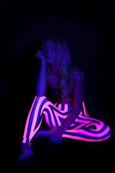 Beetlejuice Neon Pink Leggings (under a black light!) by Black Milk Clothing