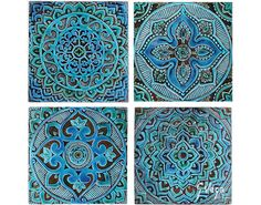 4 Mandala wall hangings made from ceramic - Set of 4 - mandala wall art - mandala wall hanging - handmade tile - turquoise