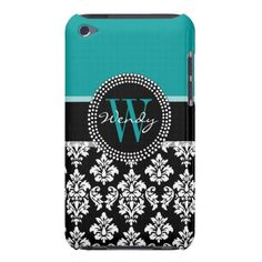 Turquoise, Black Damask Initial Name iPod Case iPod Touch Cover