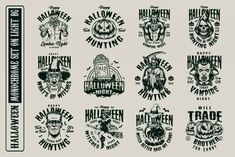 Monochrome Halloween vector designs with vampires, witches, zombies, pumpkins, etc. High quality vector, easily scalable. Available to download for personal and commercial use on our website. #vector #vectorillustration #halloween #halloweendesign