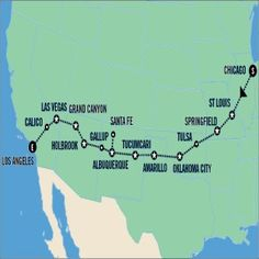 Route 66 road map & itinerary from Chicago to LA.