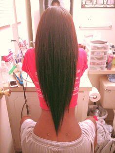 I love the v hair cuts, im getting one Love Hair, Gorgeous Hair, Amazing Hair, Gorgeous Body, V Shaped Haircut, Corte Y Color, Long Hair Cuts, Straight Hair, Hair Dos