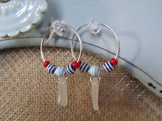 Med. White Sea Glass with Red, White & Blue Bead Hoops
