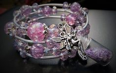 Women and Girls Adorable Sparkling Glamorous Purple Fairy Beaded Bracelet with Fairy Bottle, Fairy Charm and Fairy Wings