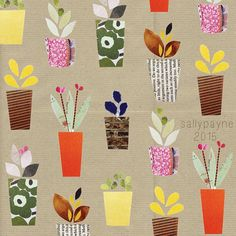 New paper patterns #flowers #potplants #pattern #repeat #surfacepattern #collage…