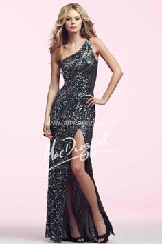 Mac Duggal 3389N One Shoulder Sequin Homecoming Dress Gunmetal