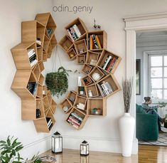 This time we will share interesting book-shelves ideas. Isn't it more awesome if our books are displayed on the book-shelves that decorate the house. Diy Wood Projects, Home Projects, Wood Crafts, Living Room Decor, Bedroom Decor, Decor Room, Diy Furniture, Furniture Design, Furniture Plans