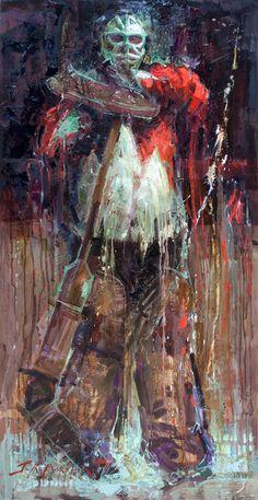 Standing Guard - Oil painting of a hockey goalie by Jerry Markham - www.jerrymarkham.com