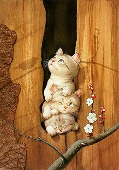 Makoto Muramatsu #cats #art Brilliant illustration and so #cute! I love the clear lines, the colors and the light!