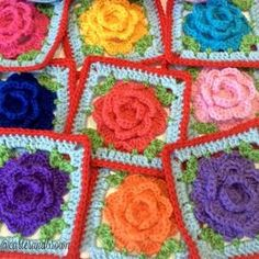 crochet floral squares by carter_and_brown from 100+ Inspiring #Crochet Photos