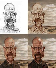 Bryan Cranston por Sebastián Cast - Caricaturas de Famosos