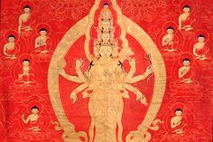 Avalokiteshvara (detail); Central Tibet; 17th century; Fine gold line, red ground on cotton; Rubin Museum of Art