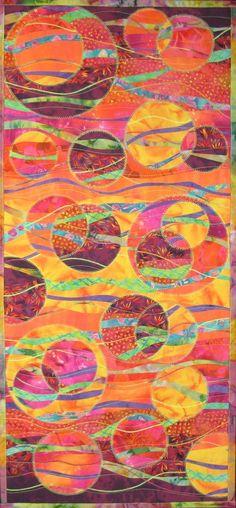 Brilliant Geometric Hanging Fiber Art Quilt by TerryAskeArtQuilts