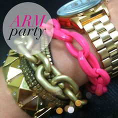 "The ""arm party"" (aka: wearing a fun combination of bracelets stacked on your arm) has by far been one of the most fun and easily personalized trend that has come up in a while.  Any lady can take the bracelets she already owns and loves and mix and match them until her heart is content to make a bold and whimsical fashion statement."
