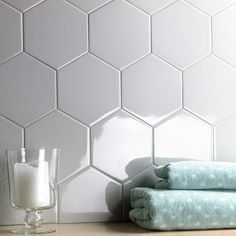 Ivy Hill Tile Bethlehem Hexagon Pearl in. x Polished Ceramic Wall Tile pieces / sq. / - The Home Depot Hexagon Tile Backsplash, Hexagon Tiles, Ceramic Wall Tiles, Kitchen Backsplash, Backsplash Ideas, Kitchen Cabinets, Study Table Designs, Stone Look Tile, Buy Tile
