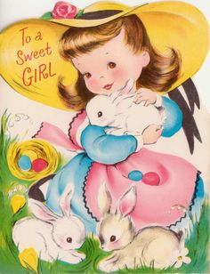 Vintage UNUSED Little Girl and Bunny Rabbits Easter Greetings Card (B8)