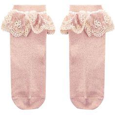 Monsoon Girl Dainty Flower Lace Socks ($10) ❤ liked on Polyvore featuring intimates, hosiery, socks, floral socks, pink socks, lace socks, lace hosiery and ruffle socks